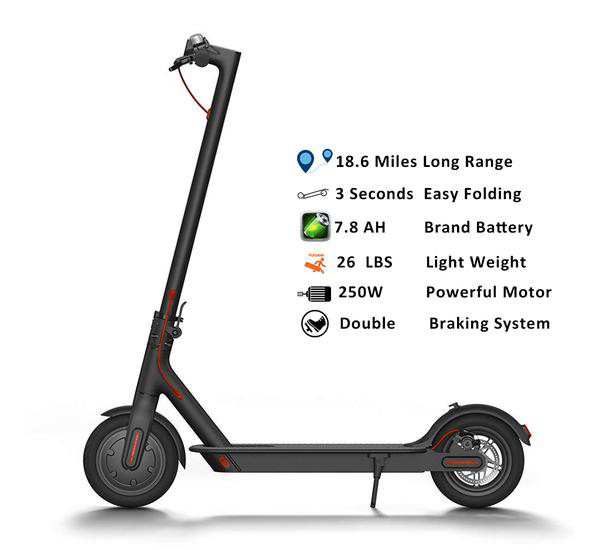 250W Powerful Electric Scooters, 18.6 Miles Long Range, Easy Fold-n-Carry Design, Ultra Light Weight