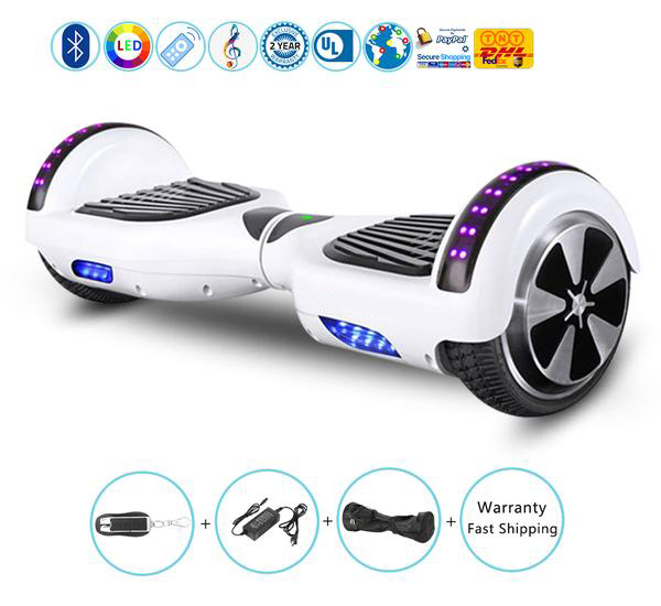 White Color Hoverboard with Bluetooth Lights 6.5 Inch,Hottest Self Balancing Scooter