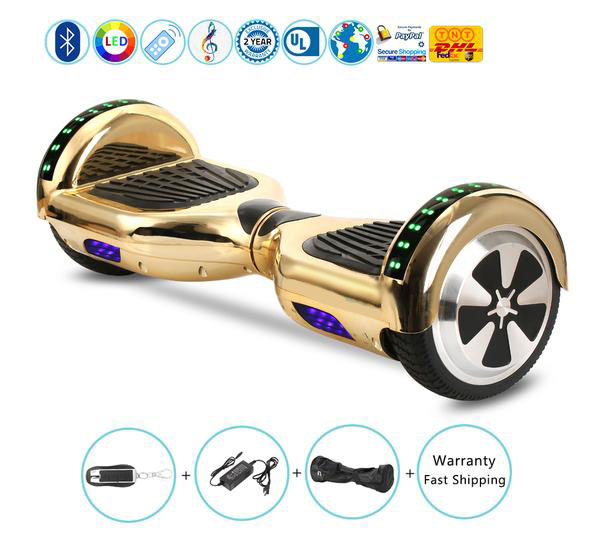 Cool Hoverboard with Chrome Gold Color