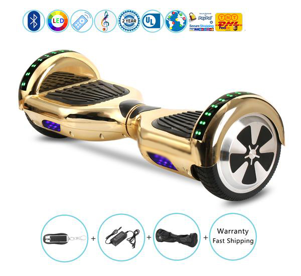 Chrome Gold Hoverboard for Kids in Xmas, with Bluetooth Speaker, Remote and Led Light
