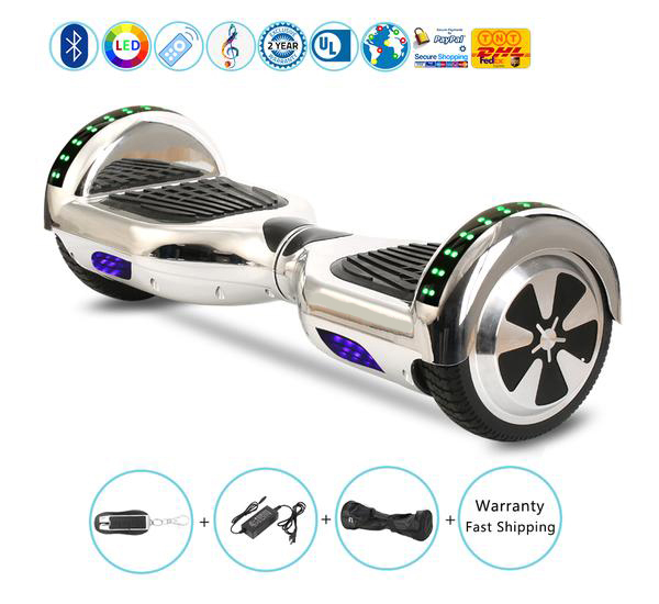 Chrome Two Wheel Balancing Scooter with Bluetooth Speaker on Sale
