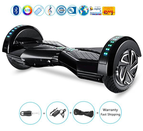 8 Inch Lambo Performance Black Hoverboard with Bluetooth Speakers + Lights + Remote + Carry Bag