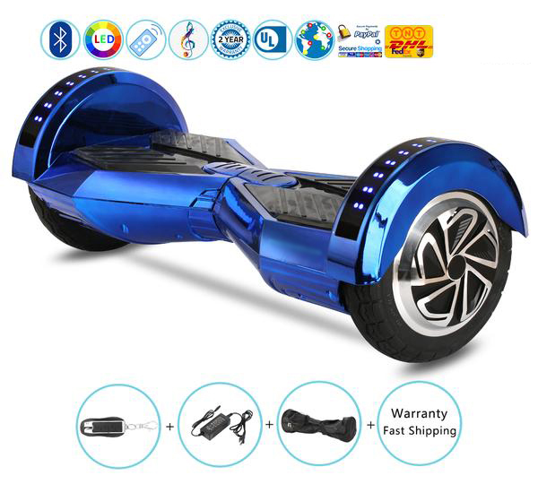8 Inch Lambo Performance Chrome Blue Hoverboard for Child with Bluetooth Speakers + Lights + Remote + Carry Bag