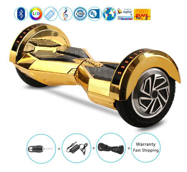 8 Inch Lambo Performance Chrome Gold Hoverboard with Bluetooth Speakers + Lights + Remote + Bag