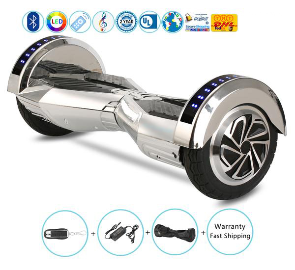 8 Inch Lambo Performance Chrome Silver Hoverboard with Bluetooth Speakers + Lights + Remote + Bag