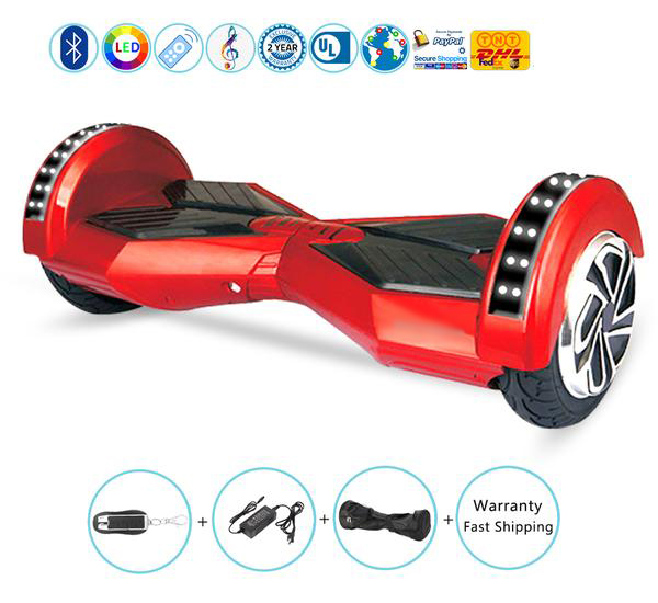 8 Inch Lambo Performance Red Hoverboard Self Balancing Scooter with Bluetooth + Lights + Remote