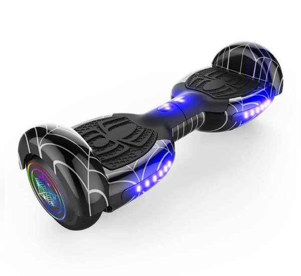 "6.5"" SPIDER HOVERBOARD WITH LED LIGHT WHEEL,BLUETOOTH SPEAKERS AND UL-2272 CERTIFIED (Black)"