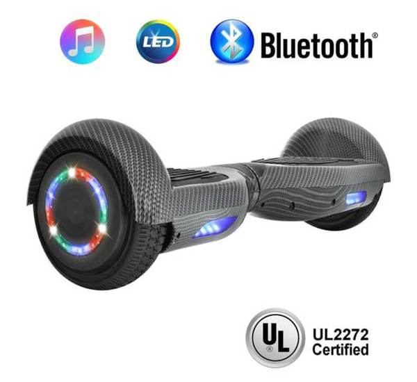 6.5 Inch CARBON FIBER HOVERBOARD WITH LED WHEELS,BLUETOOTH SPEAKER AND UL-2272 CERTIFIED (Black)