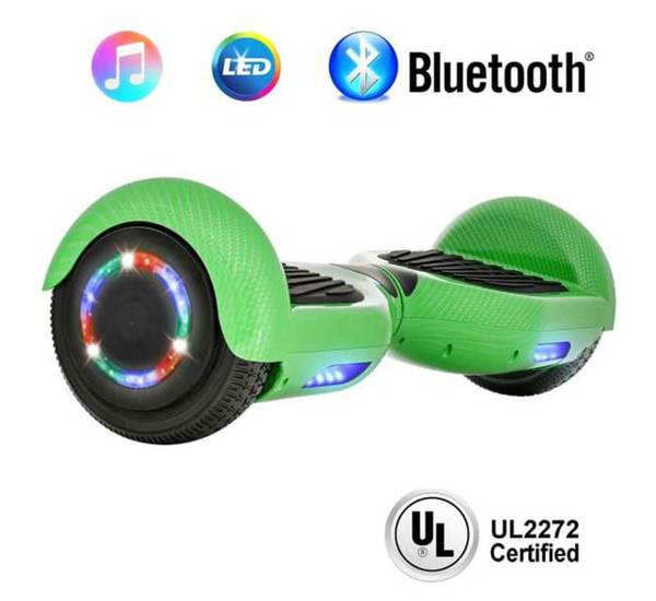6.5 Inch CARBON FIBER HOVERBOARD WITH LED WHEELS,BLUETOOTH SPEAKER AND UL-2272 CERTIFIED (Green)