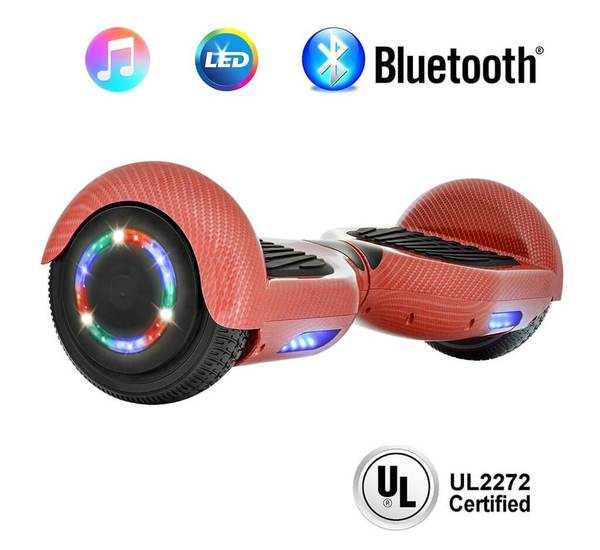 6.5 Inch CARBON FIBER HOVERBOARD WITH LED WHEELS,BLUETOOTH SPEAKER AND UL-2272 CERTIFIED (Red)