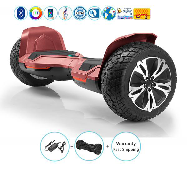 Off Road Self Balancing Hoverboard with Bluetooth Speakers + Led Lights