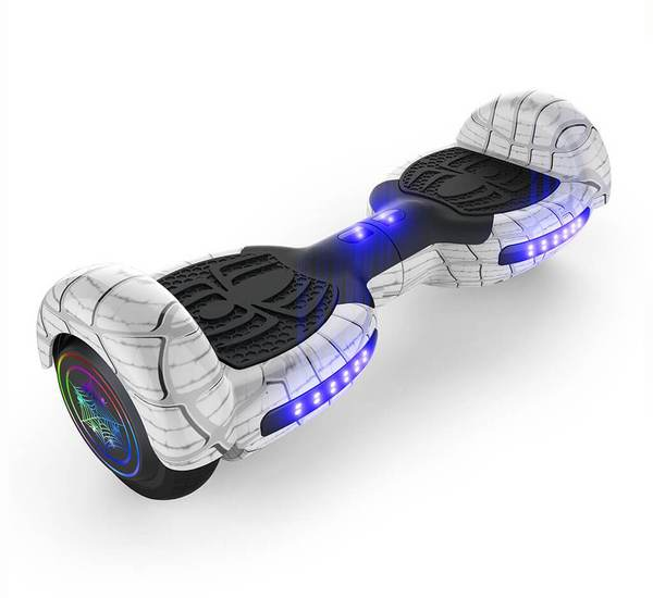 6.5 Inch SPIDER HOVERBOARD WITH LED LIGHT WHEEL,BLUETOOTH SPEAKES AND UL-2272 CERTIFIED (White)