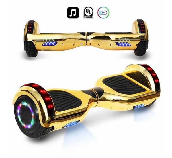 6.5 Inch CHROME HOVERBOARD WITH LED LIGHTS WHEELS, BLUETOOTH AND UL-2272 CERTIFIED (CHROME GOLD)