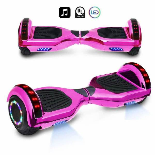 6.5 Inch CHROME HOVERBOARD WITH LED LIGHTS WHEELS, BLUETOOTH AND UL-2272 CERTIFIED (CHROME PINK)