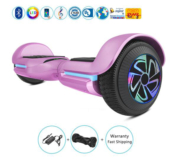 6.5 Inch New Hoverboard with Bluetooth Speakers + Led Lights + App��Silver)