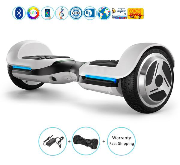 6.5 Inch Kids Hoverboard with Bluetooth Speakers + Led Lights + App��White)